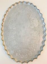 Vintage Hand Forged Aluminum Serving Tray Oval With Raised Fluted Edge Floral