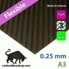 FLEXIBLE Plaque / Feuille en fibre de carbone A3 (297x420x0.25mm) + 3M adhésif