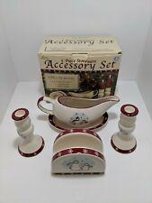 Royal Seasons 5 Piece Stoneware Accessory Set Snowman Holiday EUC Original box
