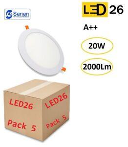 Pack 5 plafones LED DownLight 20W panel empotrar-encastrar redondo 22cm blanco