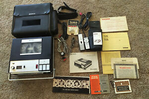 SONY TC-800 Reel to Reel Tape Player Recorder w/ Case, Remotes, Accessories LOOK