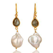 Labradorite & Pearl 18K Gold Plated Silver Womens Fashion Dangle Earrings
