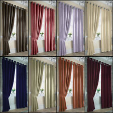 ELLA PLAIN LINED SATIN RING TOP/EYELET CURTAINS IN MULTIPLE. NOW WITH 25% OFF