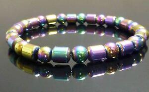 Rainbow Magnetic Hematite Bracelet Drum Bead
