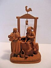 Vintage Grasso Italy Terracotta Pottery Well Woman and Man figures