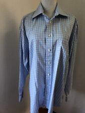 BURBERRY LONDON ENGLAND Men's LS Check Plaid Sky Blue White Dress Shirt Sz 16L