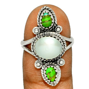Fresh Water Pearl & Copper Green Turquoise 925 Silver Ring s.7 BR77947 257H