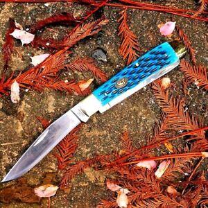 Drop Point Folding Knife Pocket Hunting Survival Tactical Dual Blade Bone Handle
