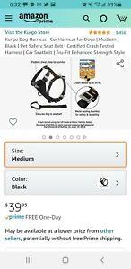 Kurgo Dog Harness   Car Harness for Dogs   Medium   Black   Pet Safety Seat Belt