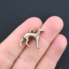 6 Greyhound Charms Antique Copper Tone 2 Sided - BC925