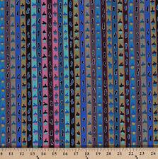 Cotton Kaffe Fassett Ribbon Stripe Acorns Blue Cotton Fabric Print D405.09