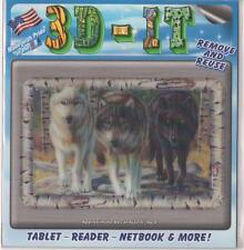 "3D Skin for Tablets, Readers, Notebooks 4"" x 6"" Reusable, Wolf Pack"