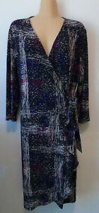 JACQUI E Black/purple/pink patterned stretch wrap dress. Size L (14)