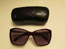 AUTHENTIC CHANEL 5327Q  C1528/S1  BURGUNDY LEATHER W/CHAIN Sunglasses