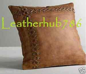 Designer Pillow Cushion Cover Square Shape Brown Pure Soft Lambskin Leather 82