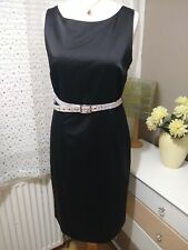 Monsoon Black Satin + Silk Sheath Dress Size 14 Party Cocktail Evening