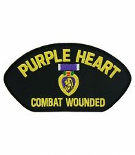 Purple Heart Combat Wounded Hat Patch, Military Cap Patches