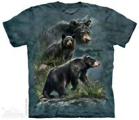 Three Black Bears T-Shirt by The Mountain. Forest Animals Nature Sizes S-5XL NEW