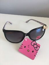 Sanrio Hello Kitty Black Horn Rimmed Retro Sunglasses with Gold Bow