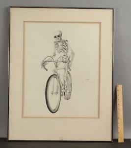 Original 1974 JULIAN LANDA Surrealist Surreal SKELETON & BICYCLE Pencil Drawing