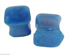 PAIR-Square Pearl Blue Acrylic Double Flare Plugs 08mm/0 Gauge Body Jewelry