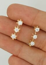NEW RUSSIAN USSR STYLE 14K 583 YELLOW GOLD SVETOFOR BUTTERCUP DIAMOND EARRINGS