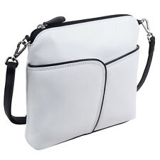 Ladies Leather Cross Body Shoulder Bag by Ili New York White & Black