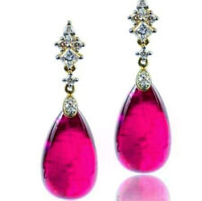 9Ct Pear Ruby Simulnt Diamond Dangle Chandelier Earrings Silver Yellow Gold Fnsh