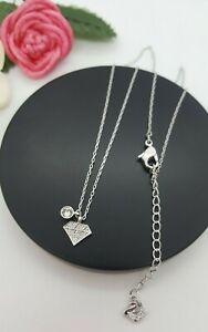 """SWAROVSKI crystal triangle and circle pendant silver-tone short necklace 16"""""""