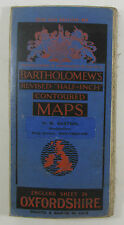 1929 old vintage Bartholomew's contoured Half-inch map 24 Oxfordshire, dissected