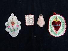 LOT 4 BRODERIES RELIGIEUSES SACRE COEUR SAINTE THERESE CARMELITES 1900 (B836)