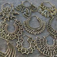 Tribal Brass Earrings Gypsy Hoop Ethnic Festival Jewellery Indian Boho