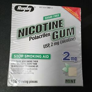 RUGBY Mint 2MG Nicotine Gum Stop Smoking Aid 110 Pieces EXP 07/2022 + Sealed
