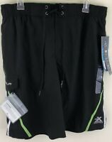 Mens Zeroxposur Stretch Swim Surf Board Shorts Safety Pouch Size L Quick Dry NWT