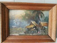 Vintage Abstract Paintings Signed Witt , Modern Old 20th Century Art