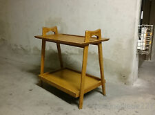 VINTAGE FRENCH MID-CENTURY SOLID OAK END SIDE / COCKTAIL BUTTLER TABLE MCM