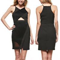 Black Wrap Style Mesh Insert V-neck Sleeveless Cutout Detail Dress/ Large