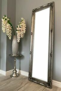 Tall Antique Mirror Ornate Silver Full Length Dressing Wall Vintage Large