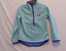EUC UNDER ARMOUR Girls Sz 4 Aqua Half-Zip Jacket w/Stand-up Collar   Was $40