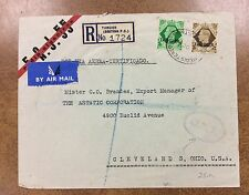{BJ Stamps} 1949  Tangier to Ohio Airmail Cover / O.A.T. KG6 registered