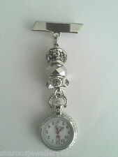 Fob Watch with Pretty Charm Beads for Nurses,Carers, Beauticians,Vets Free Post