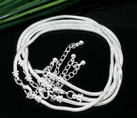 50/100Pcs Lot Silver Lobster Clasp Snake Chain Bracelet For European Beads 3mm