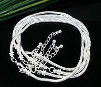 50/100Pcs Lot Silver Lobster Clasp Snake Chain Bracelet For European Beads 3mm