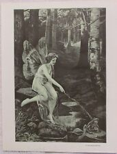 Scena illustrata - Fairy in woods touches frog with stick!  PRINT!