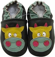 carozoo cow dark brown 0-6m C2 soft sole leather infant baby shoes