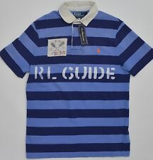Men's RALPH LAUREN Tonal Blue Striped POLO Shirt Medium M NWT NEW Custom Fit