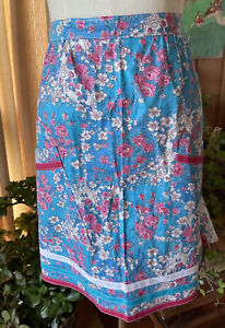 60s Vintage Blue Pink Floral Tie Back Retro Cotton Apron Pinny