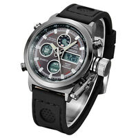 OHSEN Mens Sport Army Date Day Alarm Wrist Watch Quartz Analog Digital Silicone