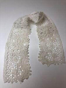 Antique Schiffli Lace Part Collar 1910s 1920s Floral Pattern Retro Textiles Old