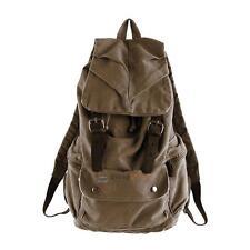 Men Women Vintage Army Canvas Backpack Rucksack School Satchel Travel Hiking Bag